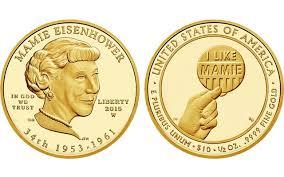 Estados Unidos, 10 dólares homenaje a Mamie Eisenhower dentro de la serie Primeras Damas Norteamericanas