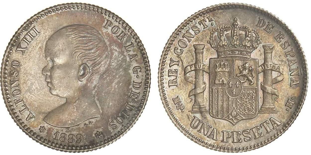 1 peseta 1889
