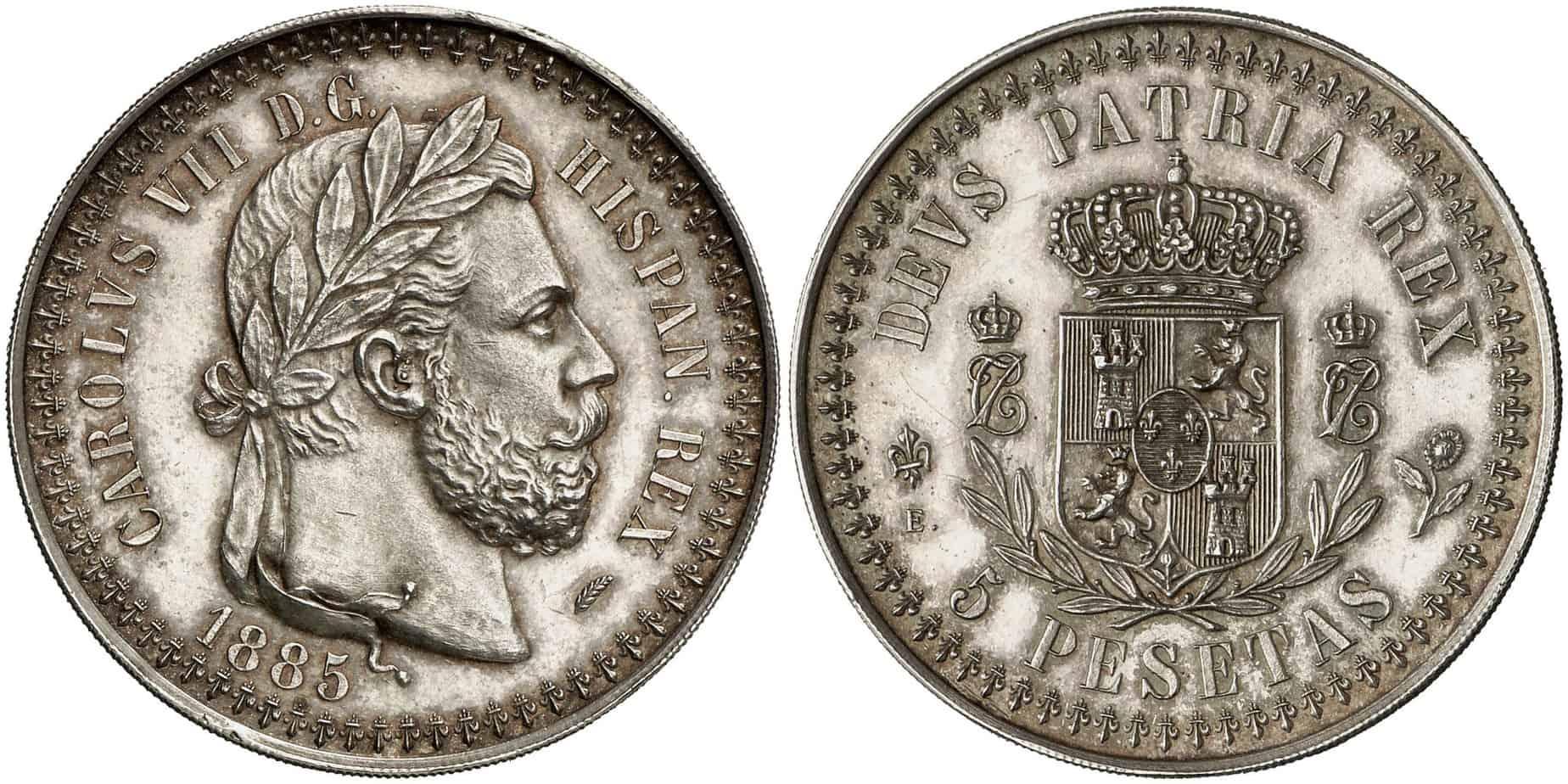 5 pesetas Carlos VII