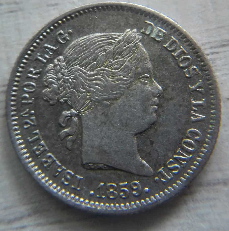 1 real Isabel II 1859 anverso