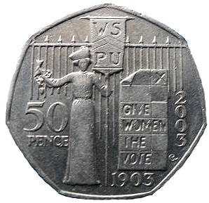 50 pence VOTES FOR WOMEN