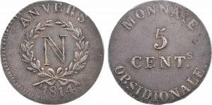 5 céntimos de Amberes, 1814 en plata