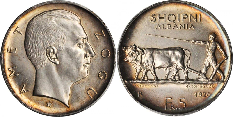 5 francos de plata Albania 1926