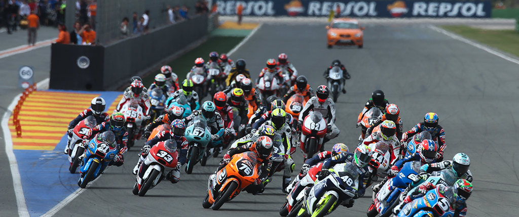 Moto3 pilots at race start