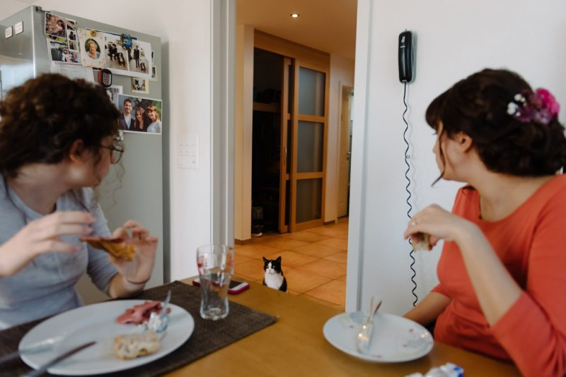 2 girls are eating their breakfast at home and a cat is watching them, they are looking at the cat too