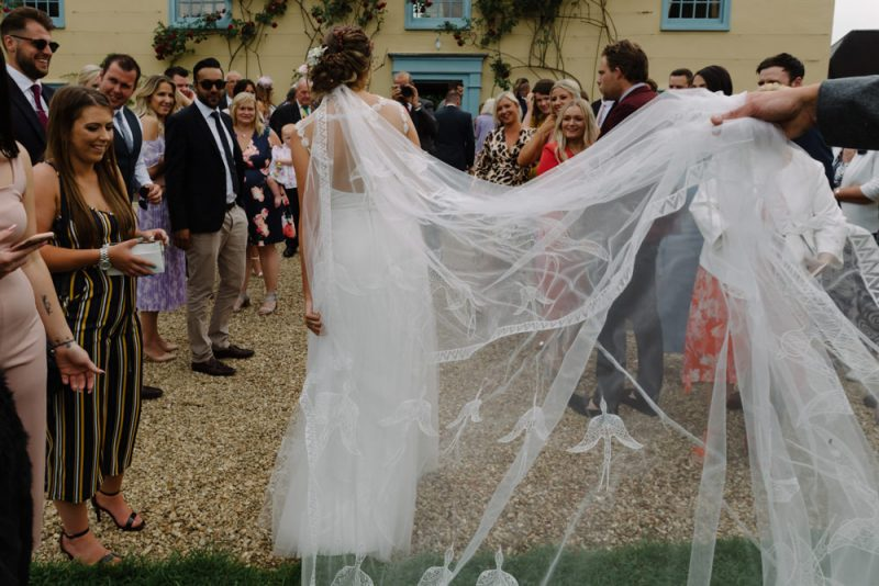 beautiful alternative wedding dress and a veil with swallows on it
