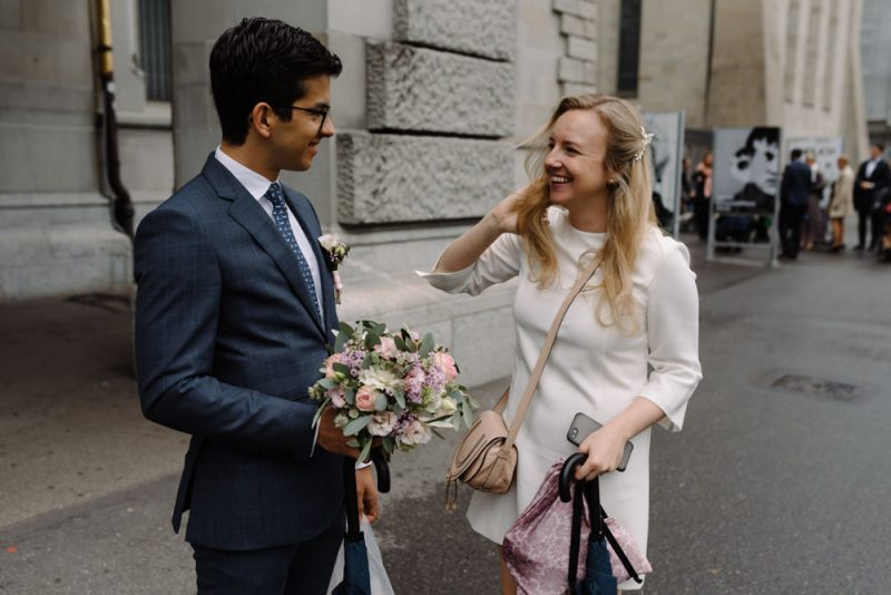 couple meet before their ceremony at Zurich Stadthaus for their city wedding