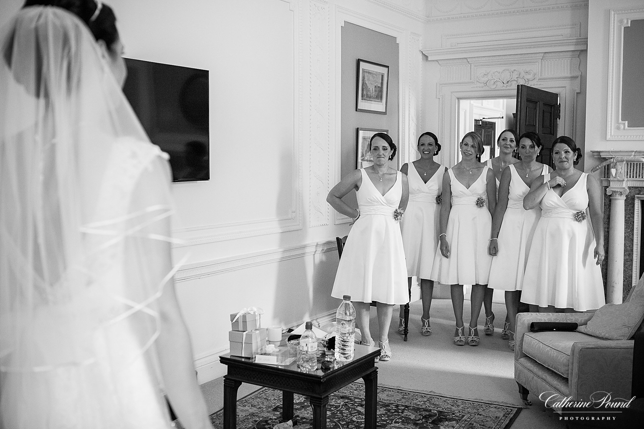 Bridesmaids see bride for first time