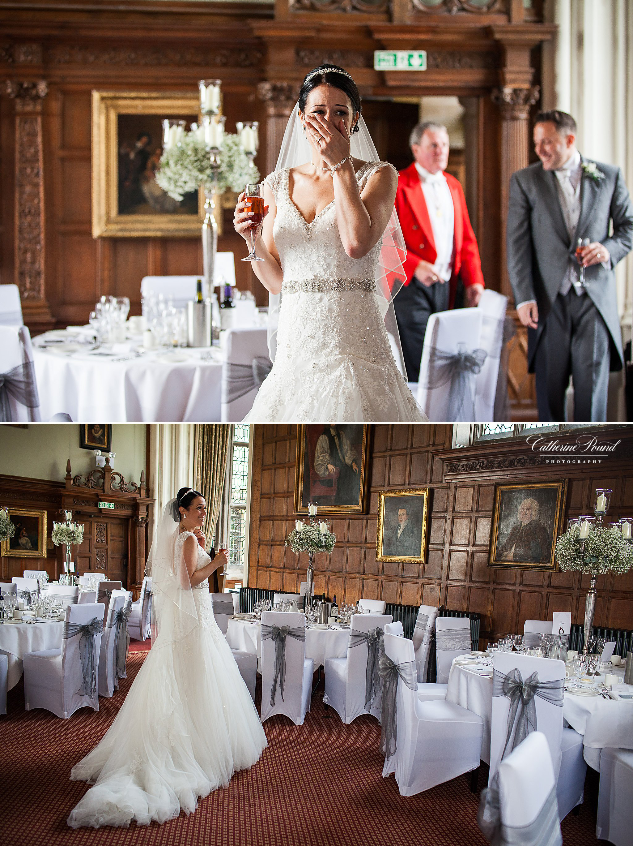 Bride sees her wedding breakfast room