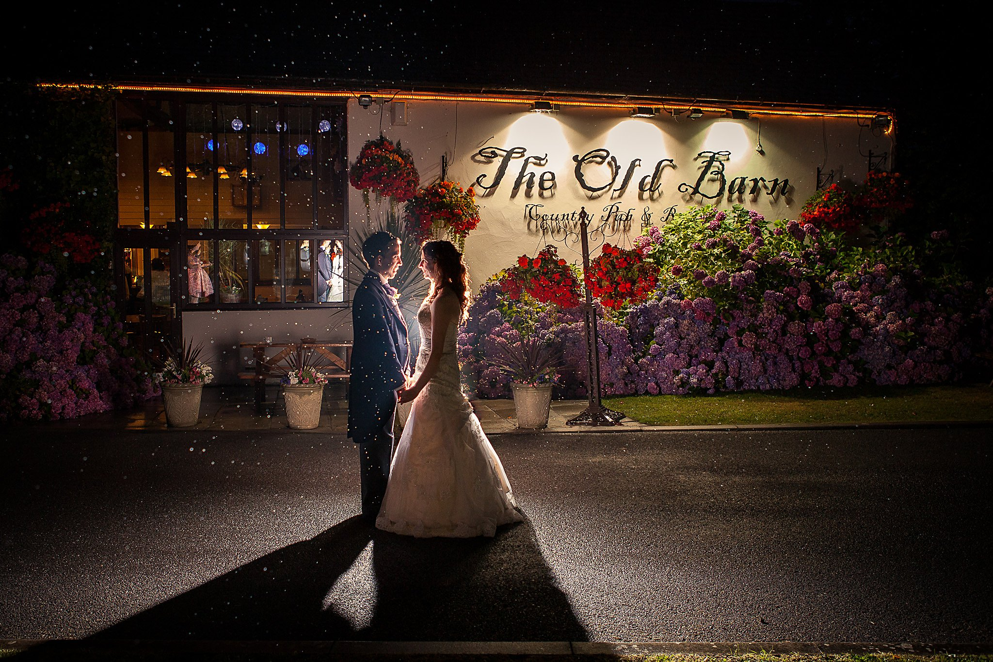 Night portrait at Old Barn Inn Wedding