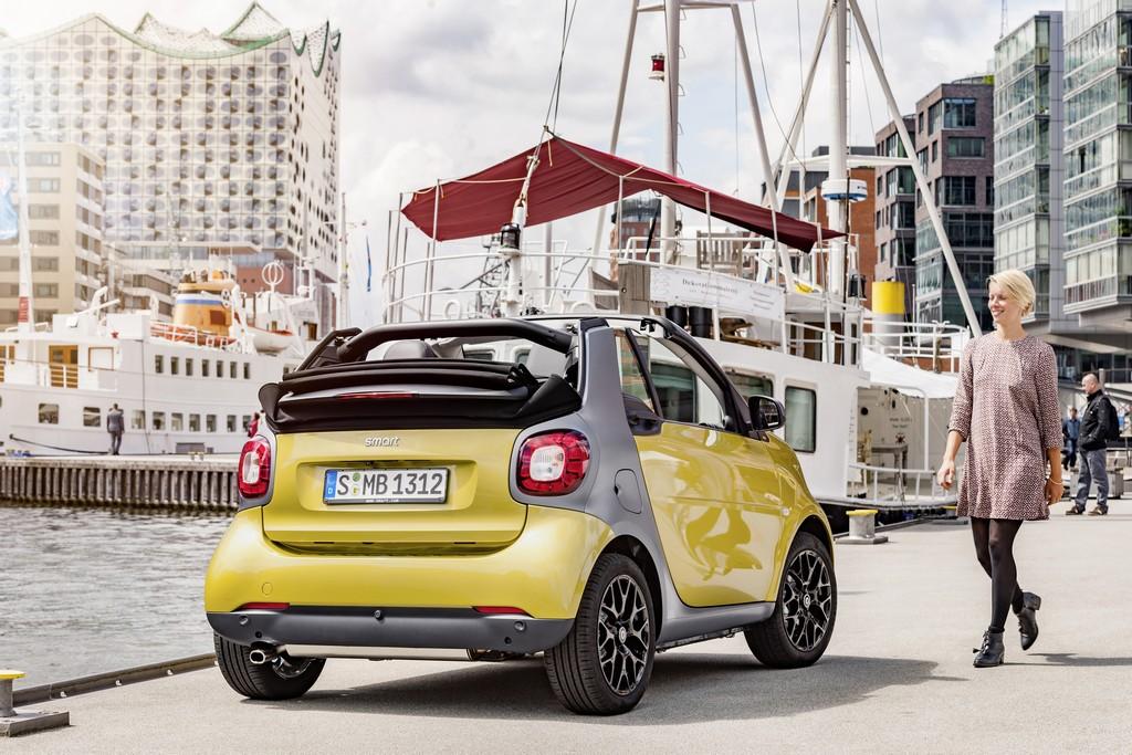 nuova smart cabrio gialla dietro