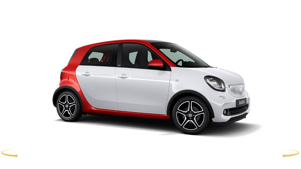 smart forfour red and the city laterale destro