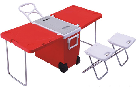 Rolling cooler with built in picnic table Picnic table with cooler plans