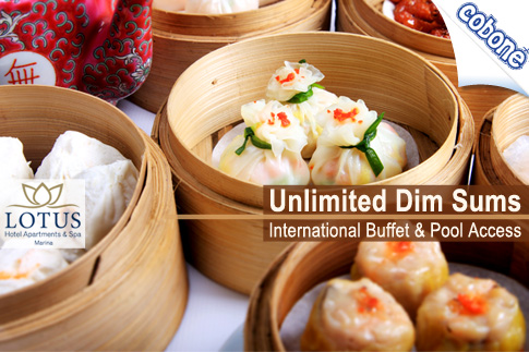 Enjoy a splurge of taste and atmosphere at Lotus Marina Hotel Apartments and Spa with an International dinner buffet including assorted dimsums, soft drinks and pool access for AED 49 per person