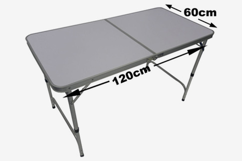 Pile the food onto a folding picnic table for Table cuisine retractable