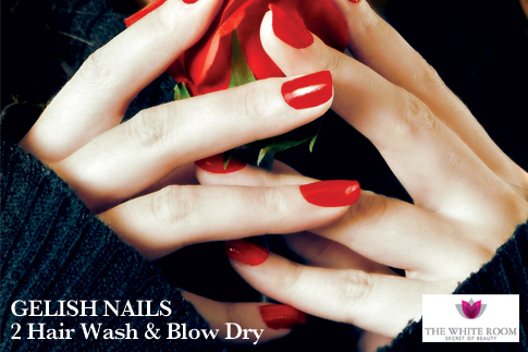 Gelish mani hair wash blow dry for Motor city beauty salon