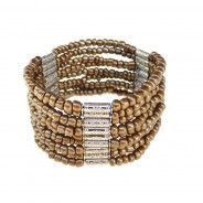 Modern Bali bead stretch bracelet with silver highlights Gold