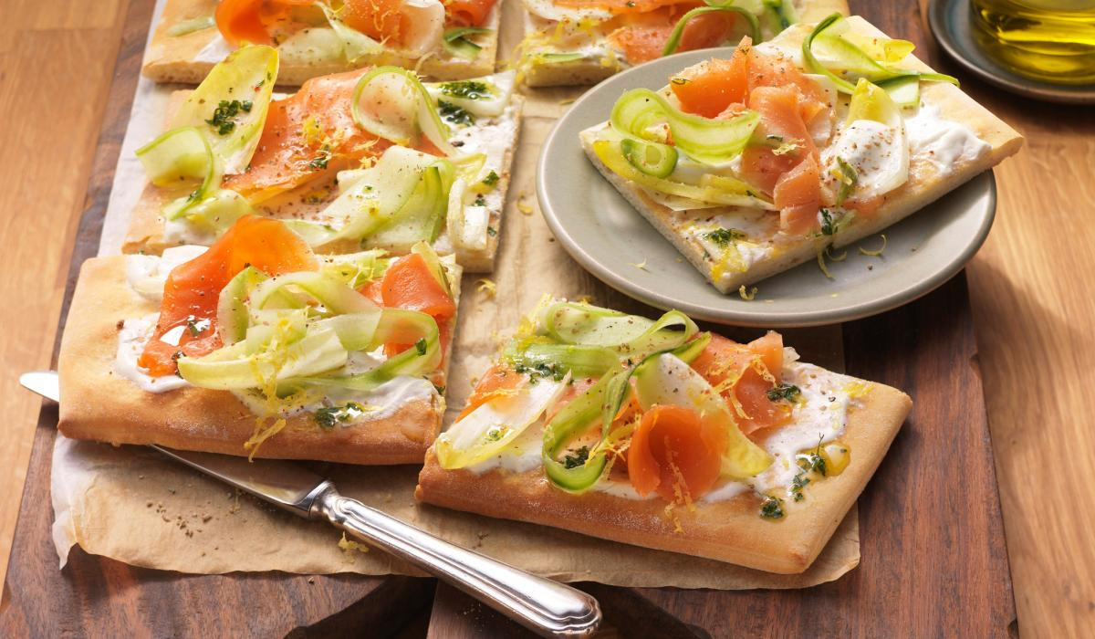 Wewalka Recipe - Smoked Salmon & Marinated Endive Pizza