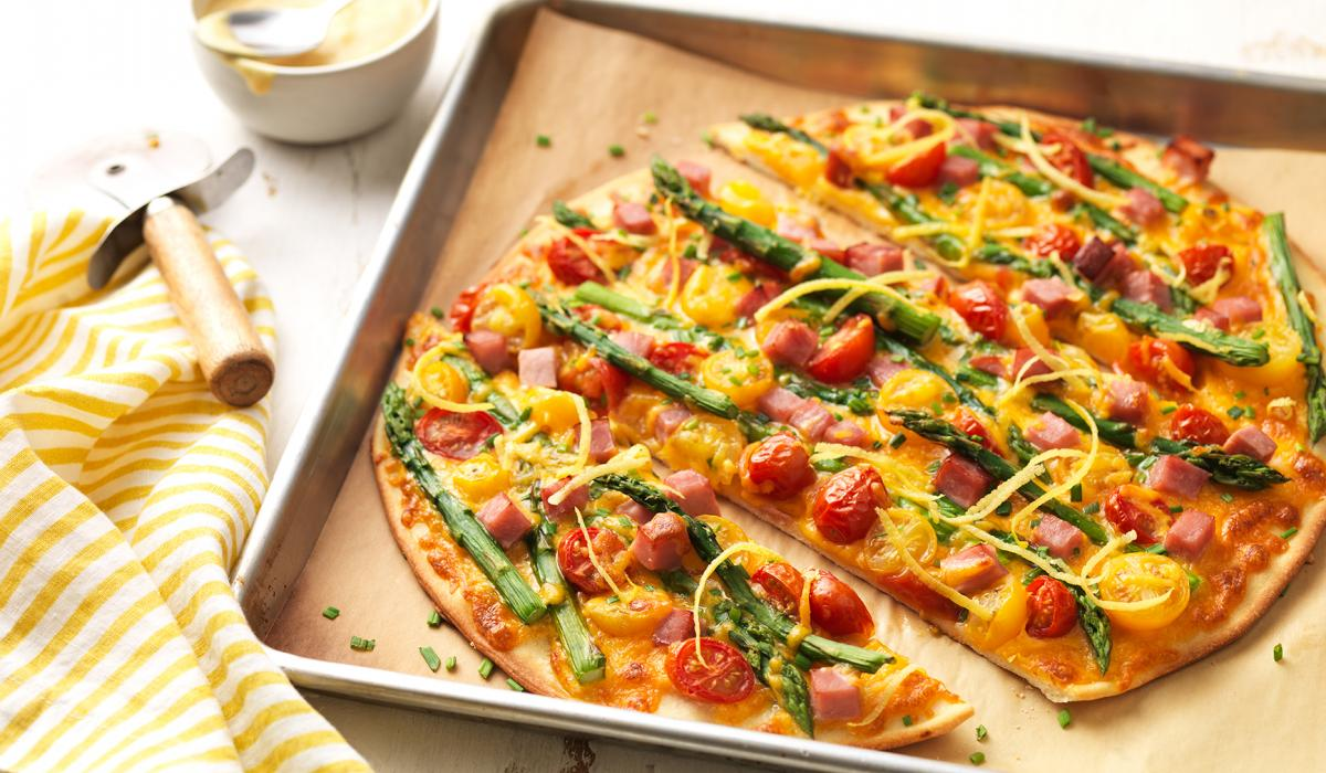 Wewalka Recipe - Asparagus Ham Pizza