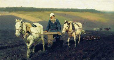 """Ilya Repin """"Tolstoi arando el campo"""""""