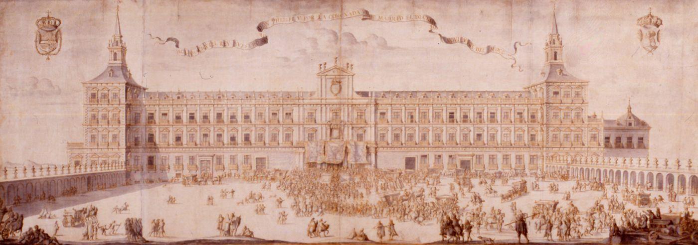 Delante de la fachada del Alcázar de Madrid, residencia oficial de los monarcas españoles –hoy inexistente– tuvo lugar, el 20 de noviembre de 1700, la aclamación del nuevo rey de España, Felipe V,