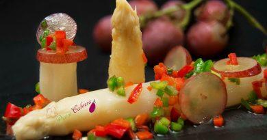 Espárragos blancos con vinagreta de uvas. Por Diana Cabrera de sus recetas para Navidad