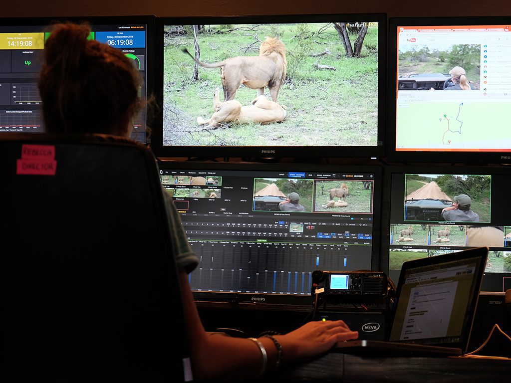 Safari live Natgeo at ChitwaThe #safariLIVE team, in studio waiting for some action to share with guests.