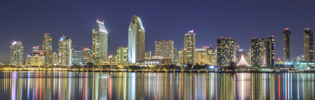 San Diego cityscape skyline at night