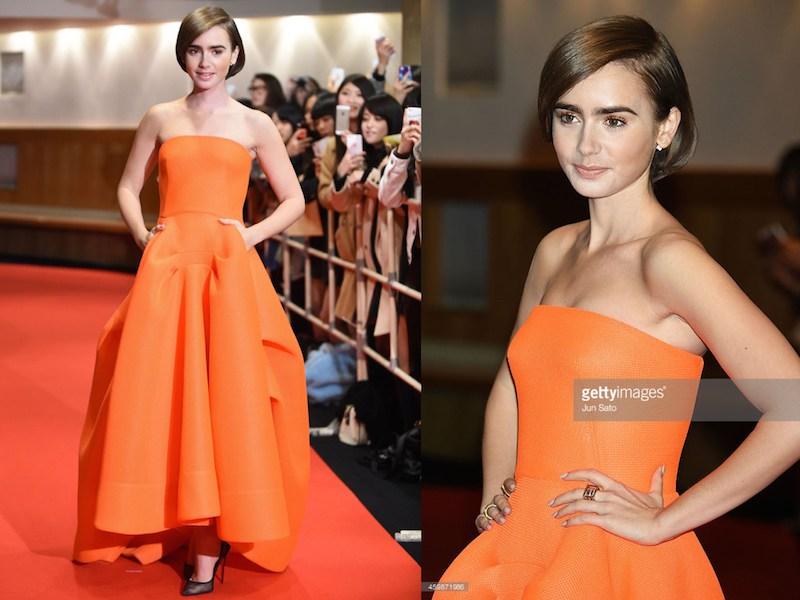 Vestito viola e arancione