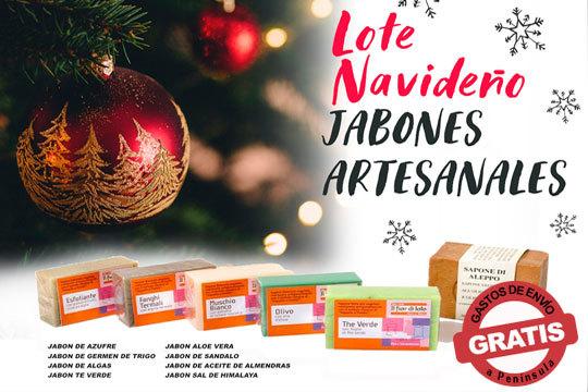 Práctica cesta de jabones artesanales presentados en bolsa de regalo ¡Aloe vera, Rosa mosqueta, Lavanda, Aceite de Oliva...!