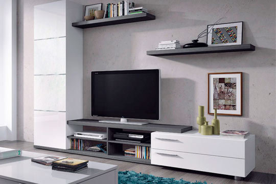 Viste con modernidad tu casa con este conjunto de salón modular de 240cm ¡Con vitrina, estanterías y módulo para televisión!
