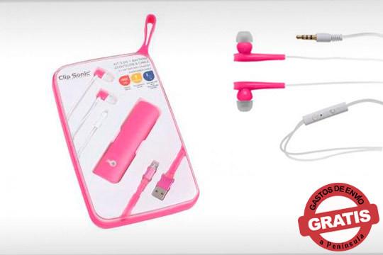 ¡Que no te pille una situación imprevista, ten a mano siempre tu kit 3 en 1! Incluye batería externa, auriculares y cable USB compatible con smartphone