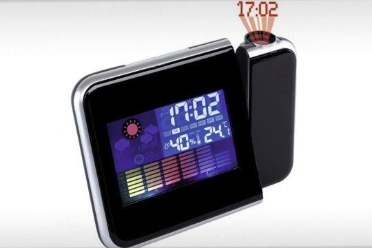 Reloj despertador con estación metereológica