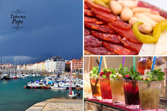 Disfruta de un completo menú con croquetas, tabla de ibéricos, tabla de queso manchego, picos, postre y combinado a elegir + un paseo en barco Santander - Somo ¡Un plan completo!