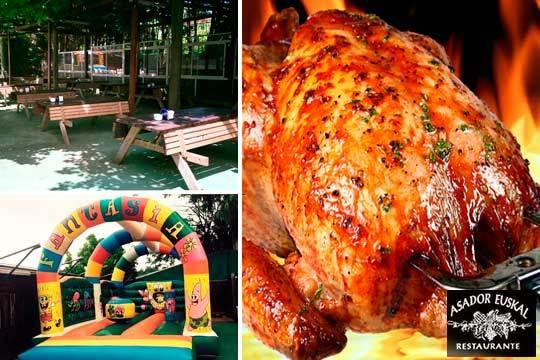 Disfruta de un menú de asador con pollo asado, patatas y entrantes en Leioa ¡Gastronomía de verano para disfrutarla!