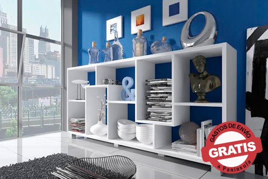 Estantería Deluxe: elegante estantería de diseño moderno y funcional en colores blanco, negro o roble ¡Envío incluido!