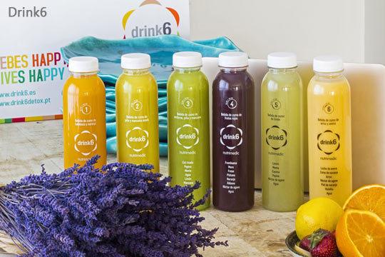 Elimina toxinas, depura el organismo, siéntete más sano... con el plan Drink 6 de 1, 2 o 3 días con 6 zumos al día de frutas y verduras 100% naturales, y con el Menú Detox o Sport Detox
