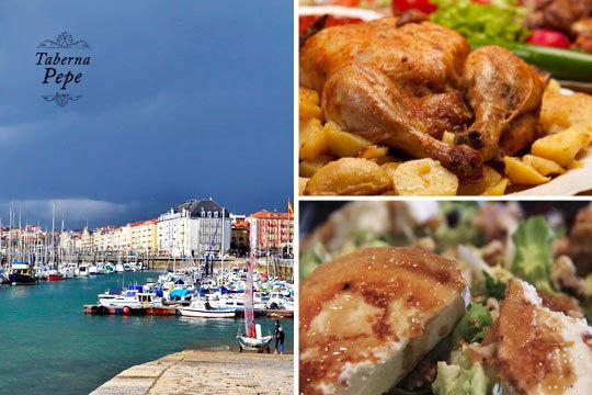 Disfruta de un plan único con sabroso menú de pollo asado con entrantes, postre y bebida + ida y vuelta en barco de Somo a Santander o Santander a Somo
