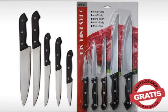Conviértete en un auténtico chef con este pack de 5 cuchillos de acero inoxidable y con agarre seguro ¡Muy fáciles de limpiar!