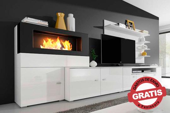 Renueva tu salón con el conjunto Olympo con chimenea incluida ¡Un toque moderno y único para tu hogar!