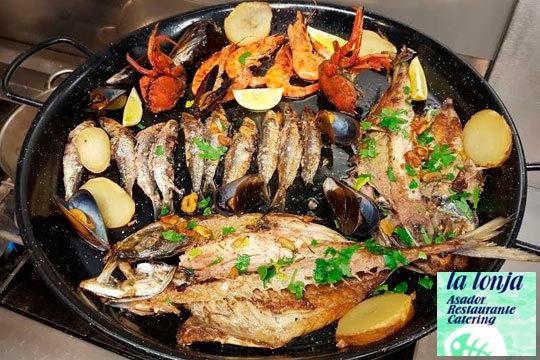 Parrillada de pescado y marisco en La Lonja de Olabeaga (Bilbao)