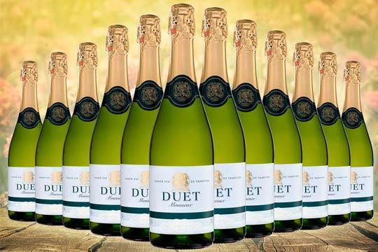 Pack de 12 botellas de Duet Vino Espumoso Blanco Brut ¡Elaborado con el método tradicional de los vinos blancos garantizando la máxima calidad!