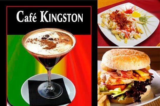 Disfruta en buena compañía de dos menús en el New Kingston ¡2 hamburguesas o bocadillos + 1 entrante a compartir + 2 consumiciones + 2 cafés!