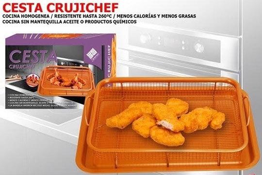 La cesta antiadherente permite circular aire caliente de horno alrededor de la comida ¡Cocina sin aceite, mantequilla u otros productos para freir!