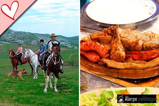Disfruta con toda la familia de un agradable paseo a caballo de 90 minutos y y opción de una parrillada de carnes con chorizo, costillas y ensalada ¡Sidra y cerveza artesana incluidas!