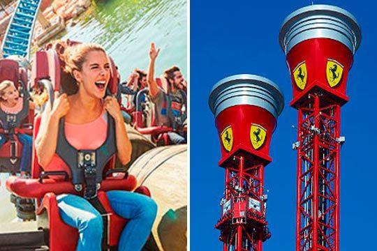 Disfruta como nunca con entradas combinadas de 2 días consecutivos para Ferrari Land y Port Aventura Park ¡Junior o adulto!