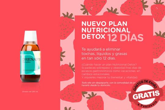 Consigue una depuración integral de tu organismo con este Plan Nutricional Detox y el suplemento DrenoDetox Complex ¡Te ayudará a eliminar toxinas, líquidos y grasas en tan solo 12 días!