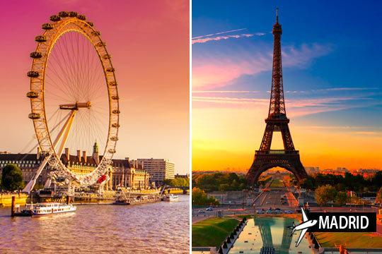 No te conformes solo con un país en tus vacaciones ¡Combinado de vuelos desde Madrid + 2 noches en París + 2 noches en Londres con desayuno!
