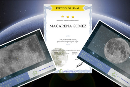 Regala una parcela en la luna a quien más quieres ¡Con certificado personalizado con el nombre que indique y un gráfico con las coordenadas para localizarla!