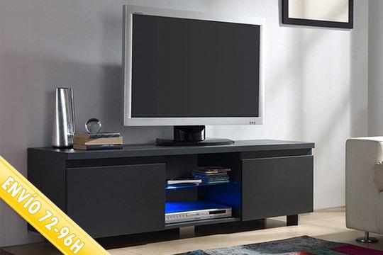 Dale un nuevo aire a tu salón con el mueble de televisor Pauline de 2 puertas ¡Con luz LED y estante central de cristal templado!